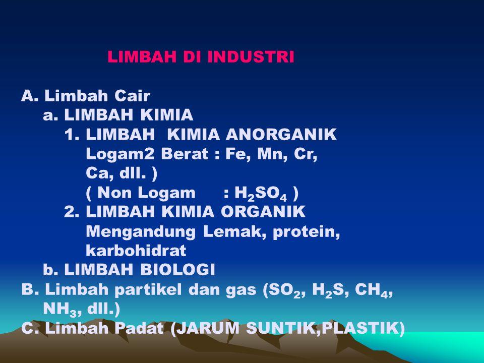 A.LIMBAH CAIR PENGOLAHAN LIMBAH CAIR a. LIMBAH KIMIA 1.