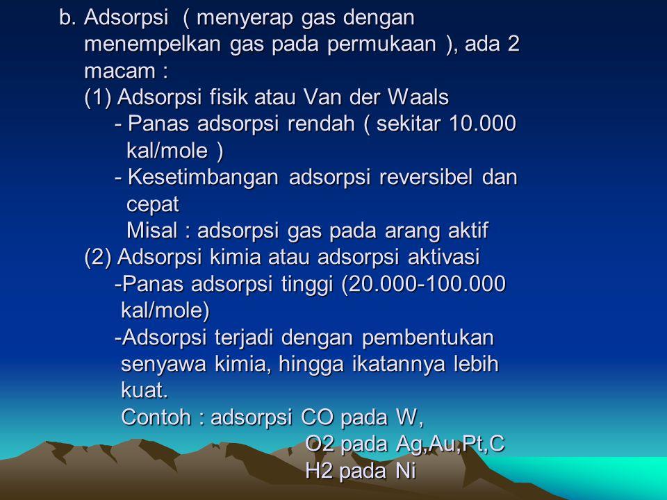 b. Adsorpsi ( menyerap gas dengan menempelkan gas pada permukaan ), ada 2 macam : (1) Adsorpsi fisik atau Van der Waals - Panas adsorpsi rendah ( seki