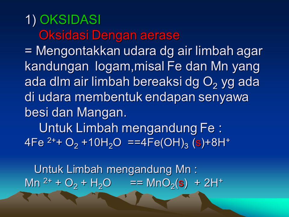 PENGENDALIAN LIMBAH CAIR KIMIA ANORGANIK Dengan Cara aerasi dan koagulasi 1) OKSIDASI Oksidasi Dengan aerase = Mengontakkan udara dg air limbah agar k