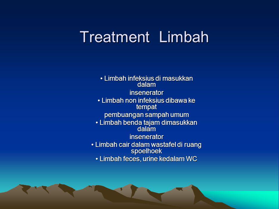 Treatment Limbah Limbah infeksius di masukkan dalam Limbah infeksius di masukkan dalaminsenerator Limbah non infeksius dibawa ke tempat Limbah non inf