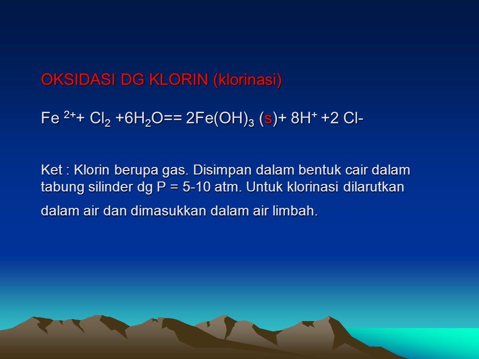 Oksidasi dg KMnO4 3Fe 2+ + KMnO4 +7H 2 O== 3Fe(OH) 3 (s)+ MnO 2 + K + + 5H + Pada prakteknya kebutuhan KMnO4 ternyata lebih sedikit dari kebutuhan yang dihitung berdasarkan stoikiometri karena terbentuk MnO2 berlebih yang dapat berfungsi sebagai oksidator.