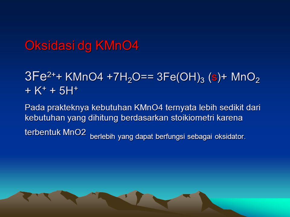 Oksidasi dg KMnO4 3Fe 2+ + KMnO4 +7H 2 O== 3Fe(OH) 3 (s)+ MnO 2 + K + + 5H + Pada prakteknya kebutuhan KMnO4 ternyata lebih sedikit dari kebutuhan yan