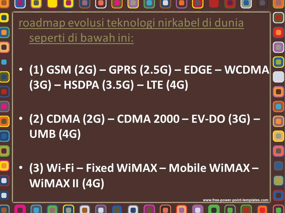 roadmap evolusi teknologi nirkabel di dunia seperti di bawah ini: (1) GSM (2G) – GPRS (2.5G) – EDGE – WCDMA (3G) – HSDPA (3.5G) – LTE (4G) (2) CDMA (2