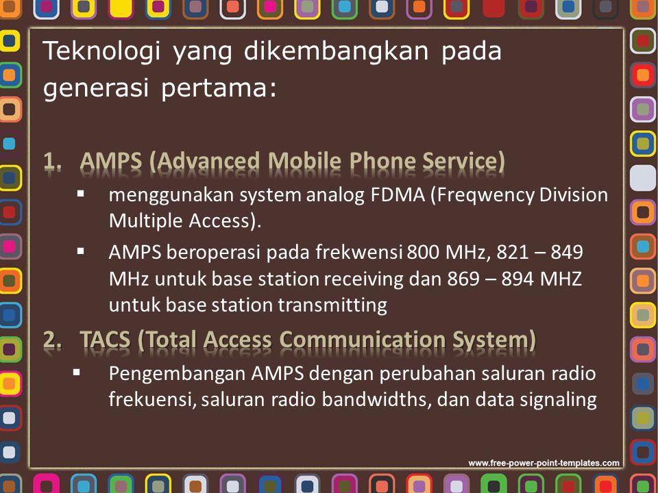 Teknologi yang dikembangkan pada generasi pertama: (lanj.) 3.