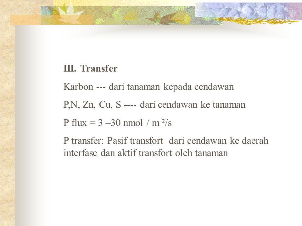 III. Transfer Karbon --- dari tanaman kepada cendawan P,N, Zn, Cu, S ---- dari cendawan ke tanaman P flux = 3 –30 nmol / m ²/s P transfer: Pasif trans