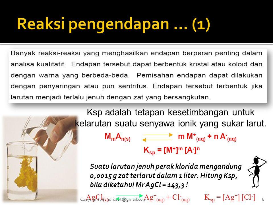 Ksp adalah tetapan kesetimbangan untuk kelarutan suatu senyawa ionik yang sukar larut.