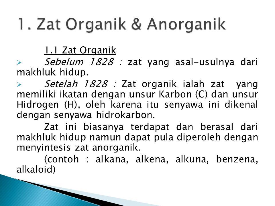 1.1 Zat Organik  Sebelum 1828 : zat yang asal-usulnya dari makhluk hidup.