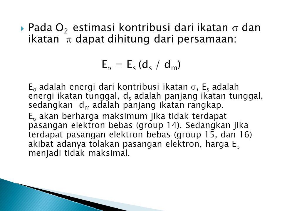  Pada O 2 estimasi kontribusi dari ikatan  dan ikatan  dapat dihitung dari persamaan: E  = E s (d s / d m ) E  adalah energi dari kontribusi ikat