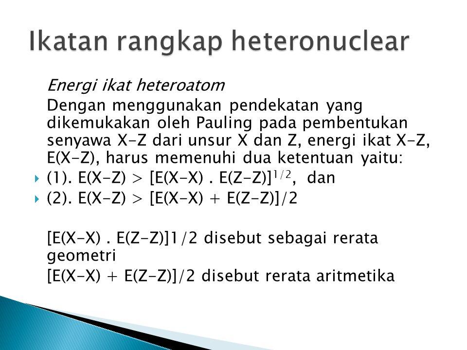 Energi ikat heteroatom Dengan menggunakan pendekatan yang dikemukakan oleh Pauling pada pembentukan senyawa X-Z dari unsur X dan Z, energi ikat X-Z, E
