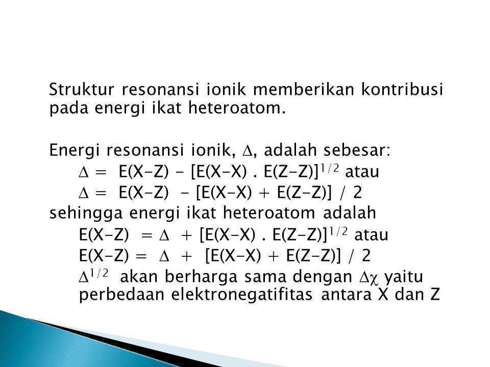 Struktur resonansi ionik memberikan kontribusi pada energi ikat heteroatom. Energi resonansi ionik, , adalah sebesar:  = E(X-Z) - [E(X-X). E(Z-Z)] 1