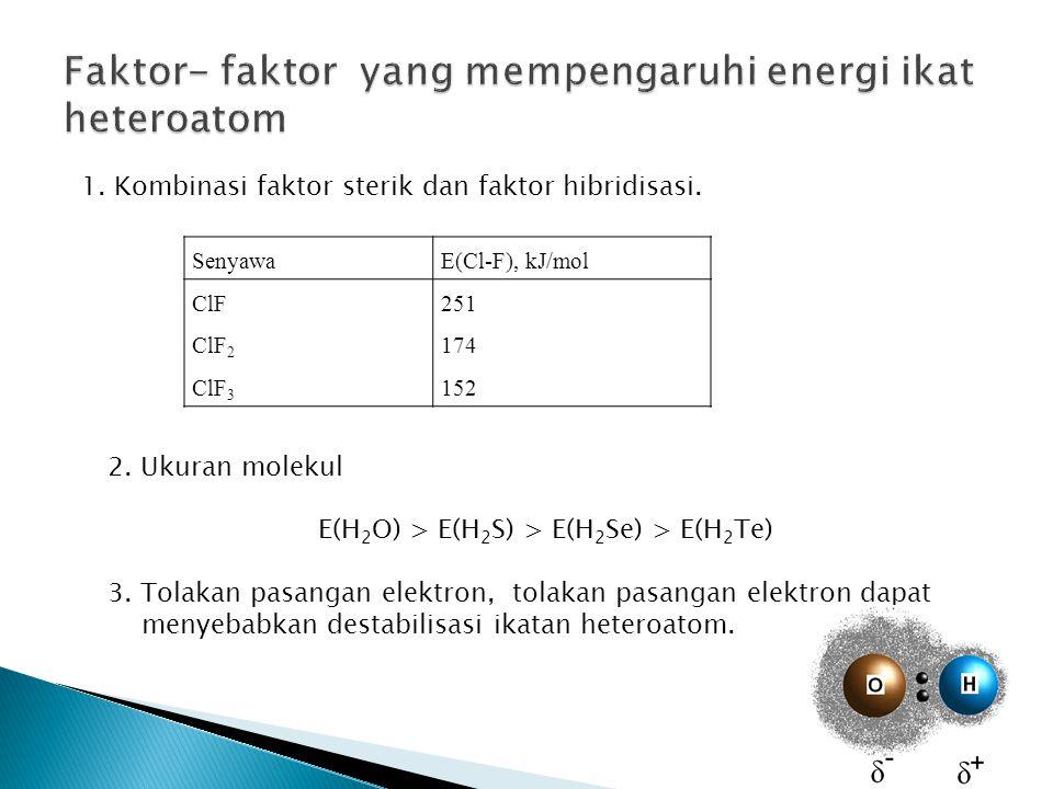 SenyawaE(Cl-F), kJ/mol ClF251 ClF 2 174 ClF 3 152 1. Kombinasi faktor sterik dan faktor hibridisasi. 2. Ukuran molekul E(H 2 O) > E(H 2 S) > E(H 2 Se)