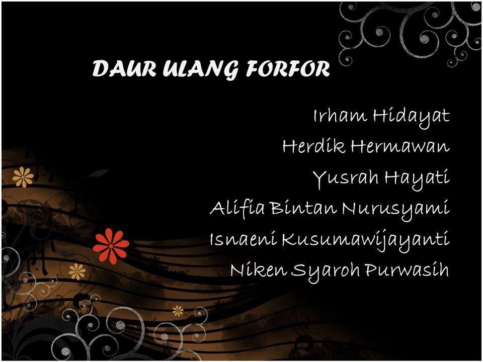 DAUR ULANG FORFOR Irham Hidayat Herdik Hermawan Yusrah Hayati Alifia Bintan Nurusyami Isnaeni Kusumawijayanti Niken Syaroh Purwasih