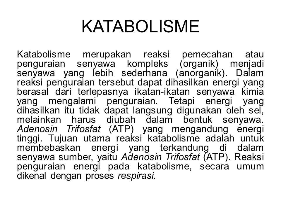 KATABOLISME Katabolisme merupakan reaksi pemecahan atau penguraian senyawa kompleks (organik) menjadi senyawa yang lebih sederhana (anorganik). Dalam