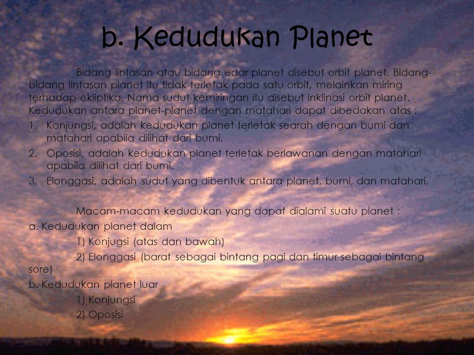 b. Kedudukan Planet Bidang lintasan atau bidang edar planet disebut orbit planet. Bidang- bidang lintasan planet itu tidak terletak pada satu orbit, m
