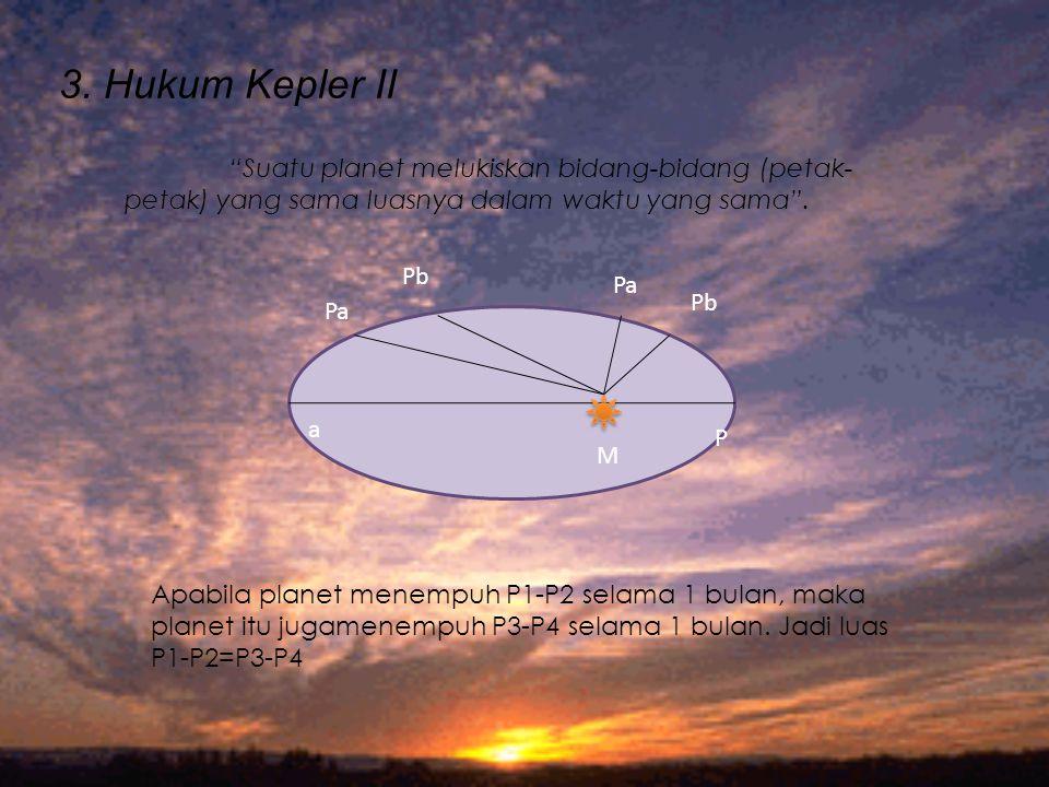"""3. Hukum Kepler II Pa Pb Pa Pb a M P """"Suatu planet melukiskan bidang-bidang (petak- petak) yang sama luasnya dalam waktu yang sama"""". Apabila planet me"""
