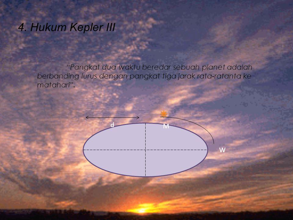 "4. Hukum Kepler III d M W ""Pangkat dua waktu beredar sebuah planet adalah berbanding lurus dengan pangkat tiga jarak rata-ratanta ke matahari""."