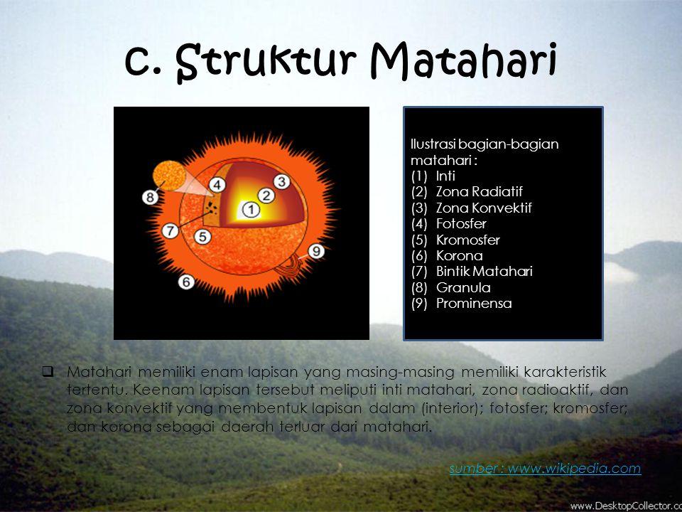 c. Struktur Matahari  Matahari memiliki enam lapisan yang masing-masing memiliki karakteristik tertentu. Keenam lapisan tersebut meliputi inti mataha