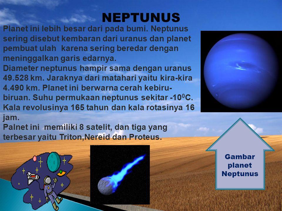 URANUS Gambar planet Uranus Planet uranus merupakan urutan ketujuh dari matahari. Planet ini diselubungi oleh awan tebal sehingga sulit diselidiki per