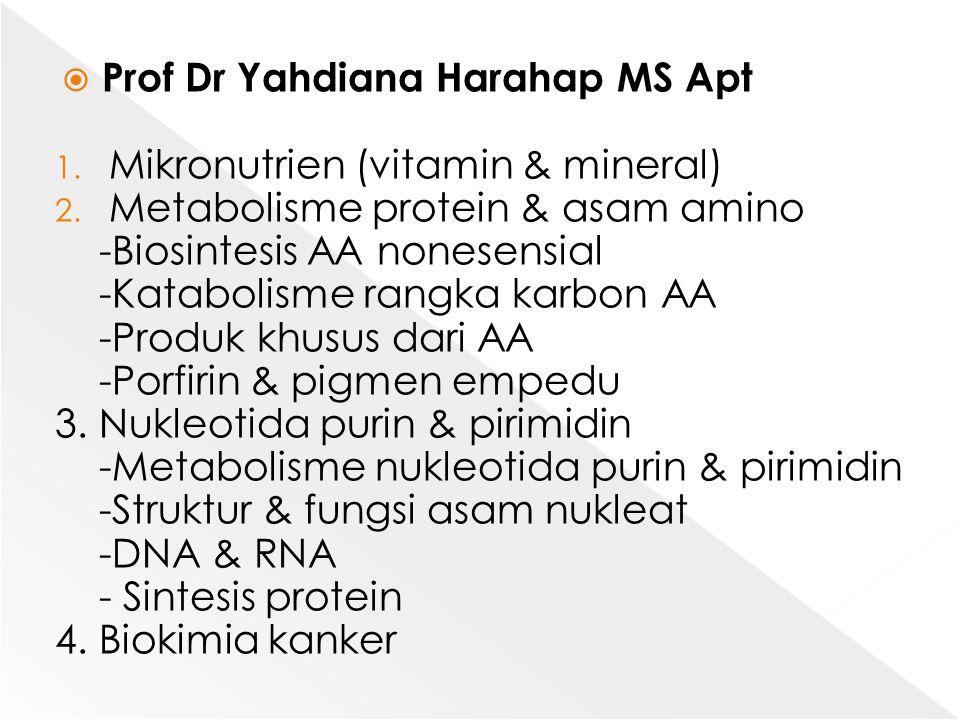 Prof Dr Yahdiana Harahap MS Apt 1. Mikronutrien (vitamin & mineral) 2. Metabolisme protein & asam amino -Biosintesis AA nonesensial -Katabolisme ran