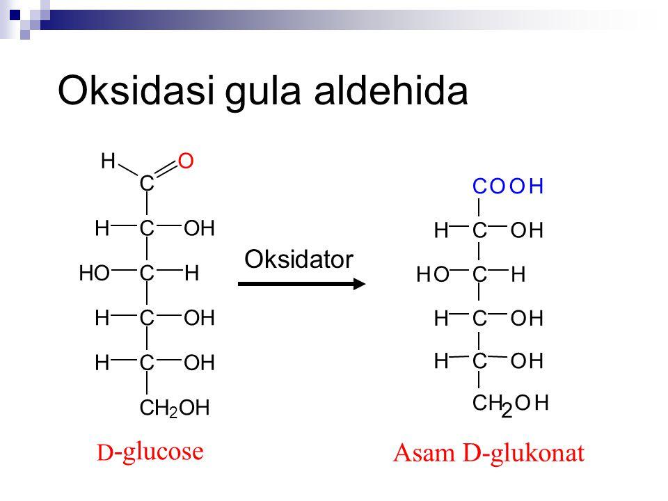 Oksidasi gula aldehida C COHH CHHO COHH COHH CH 2 OH D -glucose OH Oksidator Asam D-glukonat COOH C C C C HOH HOH HOH CH 2 OH OHH