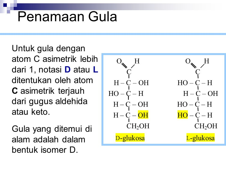 Gula dalam bentuk D merupakan bayangan cermin dari gula dalam bentuk L.