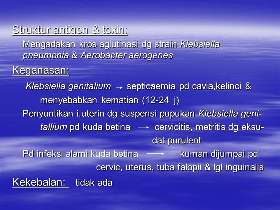 Daya tahan: Mudah mati pd suhu 60ºC selama 20 ' & desinfektan Reaksi Biokimia : Memfermentasi glukosa, laktosa,sukrosa, raffinosa, xylosa, salicin, gl