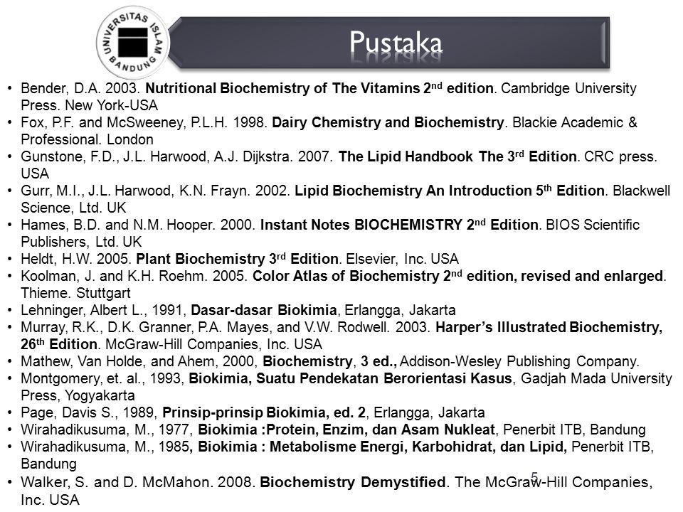 6  Pendahuluan - Definisi biokimia - Ruang lingkup kajian biokimia - Kegunaan biokimia - Biomolekul dan transformasi energi  Protein - Ciri molekul protein - Sifat-sifat protein - Asam amino - Ikatan peptida - Klasifikasi protein - Organisasi struktur protein  Enzim - Penamaan dan klasifikasi Enzim - Sifat-sifat enzim - Kinetika reaksi enzim - Mekanisme reaksi enzim - Biokimia reseptor Karbohidrat -Monosakarida -Disakarida -Polisakarida -Glikosida -Oksidasidan reduksi Lipid -Lemak -Asam lemak -Sistem lipoprtein Metabolisme -Energetika dan sistem terangkai -Siklus krebs -Metabolisme karbohidrat -Metabolisme lemak