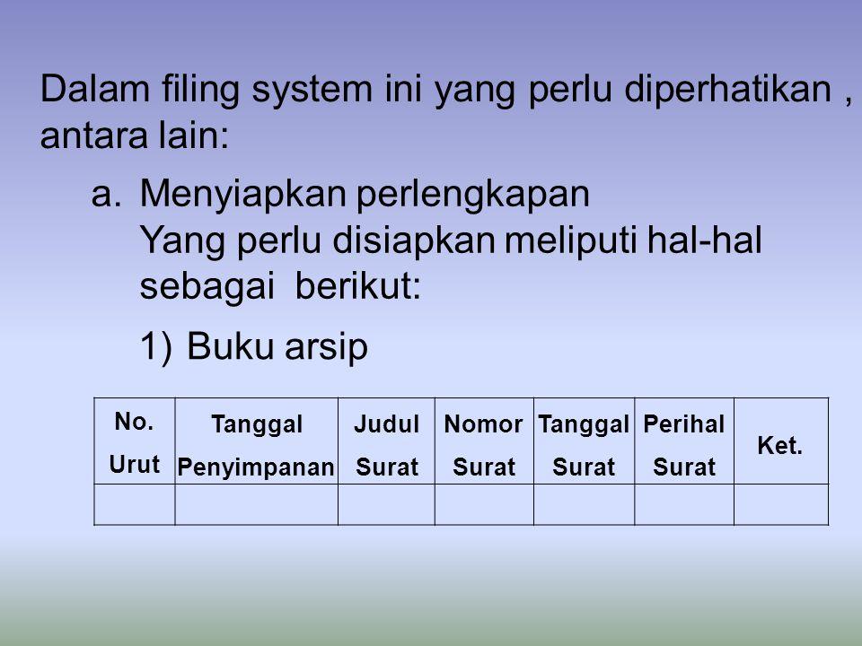 a.Menyiapkan perlengkapan Yang perlu disiapkan meliputi hal-hal sebagai berikut: Dalam filing system ini yang perlu diperhatikan, antara lain: 1)Buku arsip No.