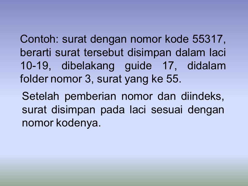 Contoh: surat dengan nomor kode 55317, berarti surat tersebut disimpan dalam laci 10-19, dibelakang guide 17, didalam folder nomor 3, surat yang ke 55.
