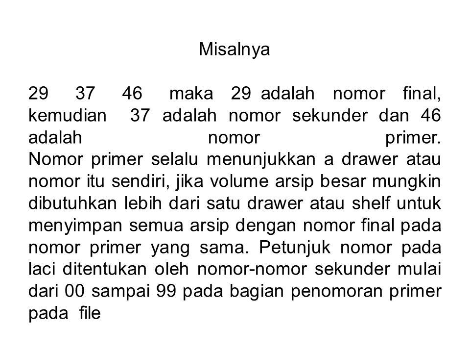 Misalnya 29 37 46 maka 29 adalah nomor final, kemudian 37 adalah nomor sekunder dan 46 adalah nomor primer.
