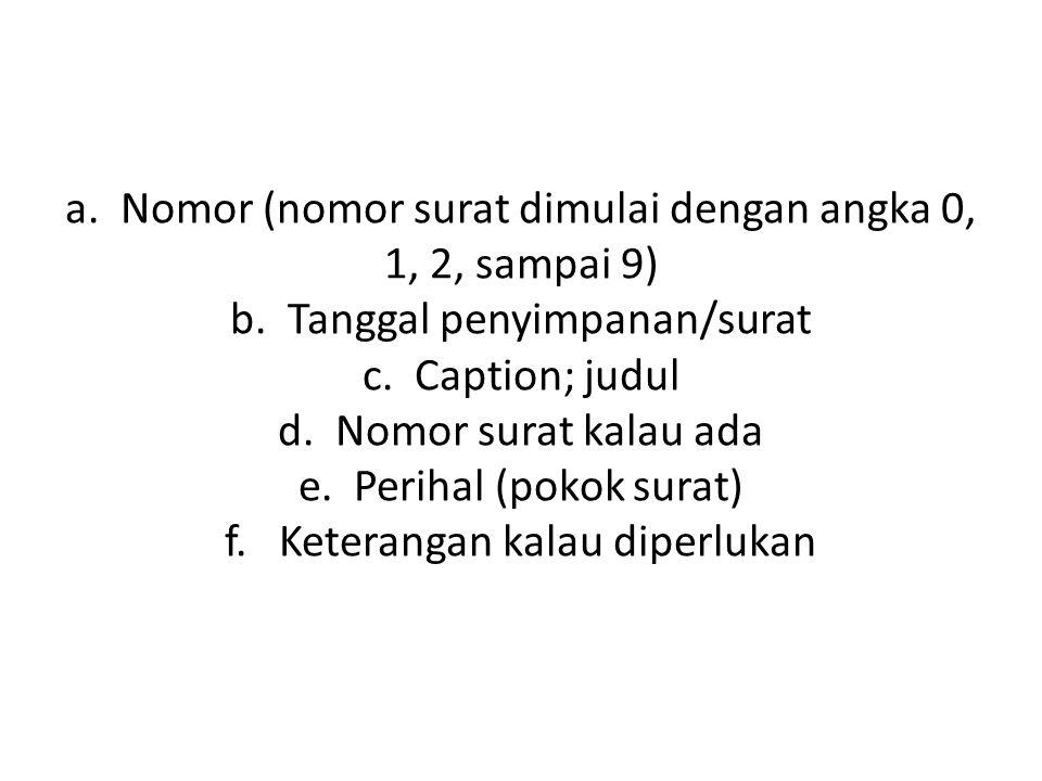 a.Nomor (nomor surat dimulai dengan angka 0, 1, 2, sampai 9) b.