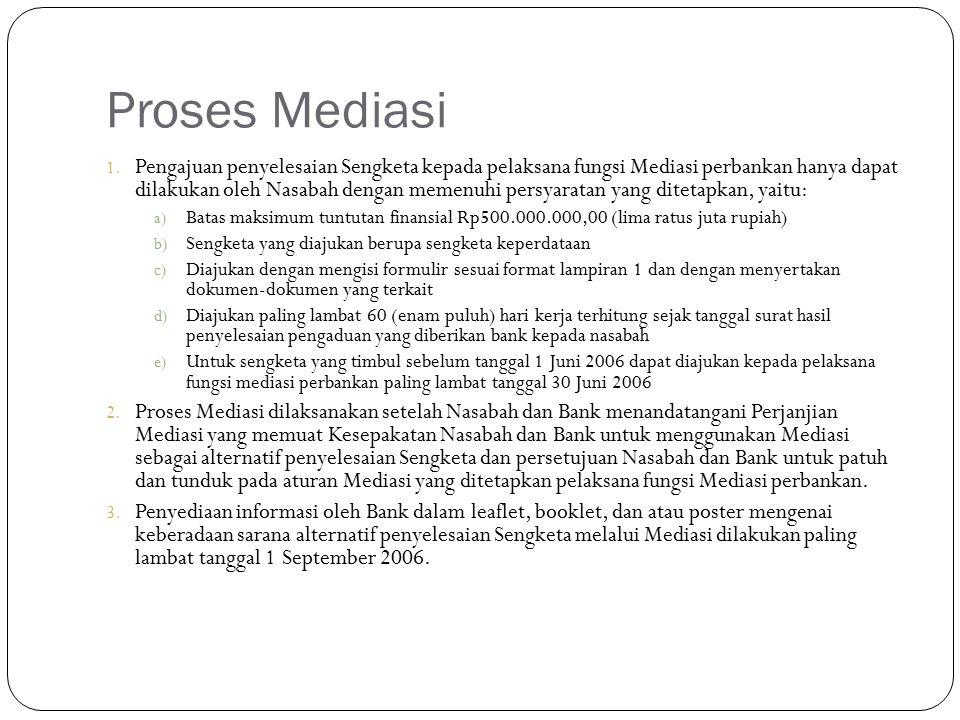 Proses Mediasi 1. Pengajuan penyelesaian Sengketa kepada pelaksana fungsi Mediasi perbankan hanya dapat dilakukan oleh Nasabah dengan memenuhi persyar