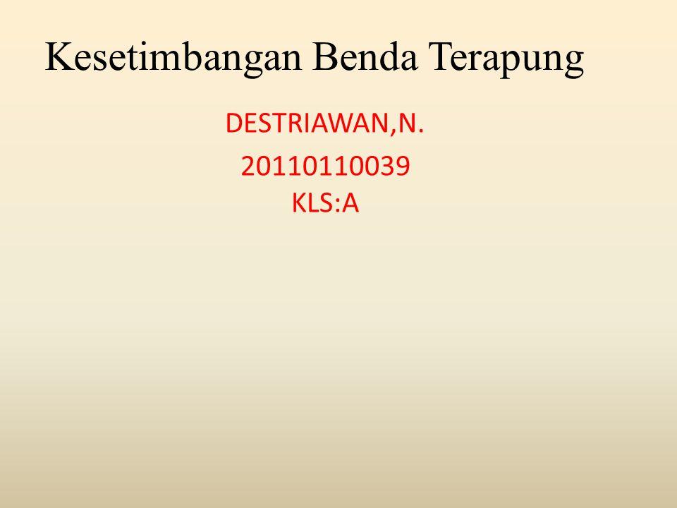 Kesetimbangan Benda Terapung DESTRIAWAN,N. 20110110039 KLS:A