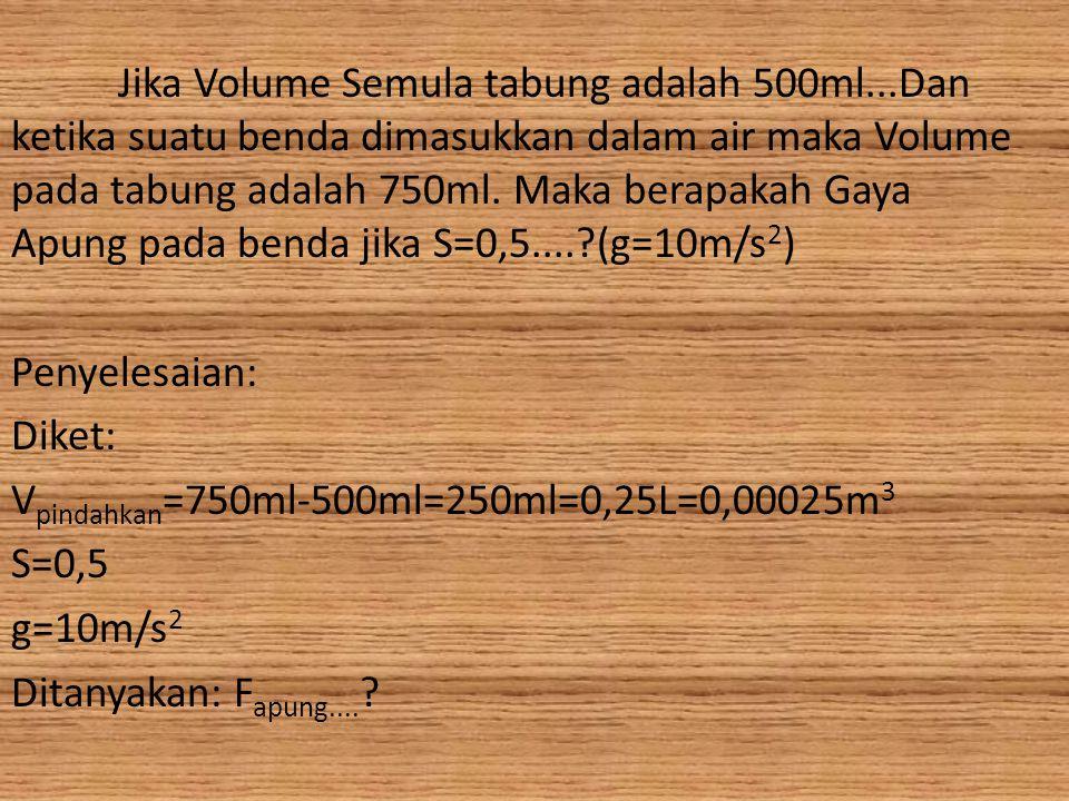 Jika Volume Semula tabung adalah 500ml...Dan ketika suatu benda dimasukkan dalam air maka Volume pada tabung adalah 750ml. Maka berapakah Gaya Apung p