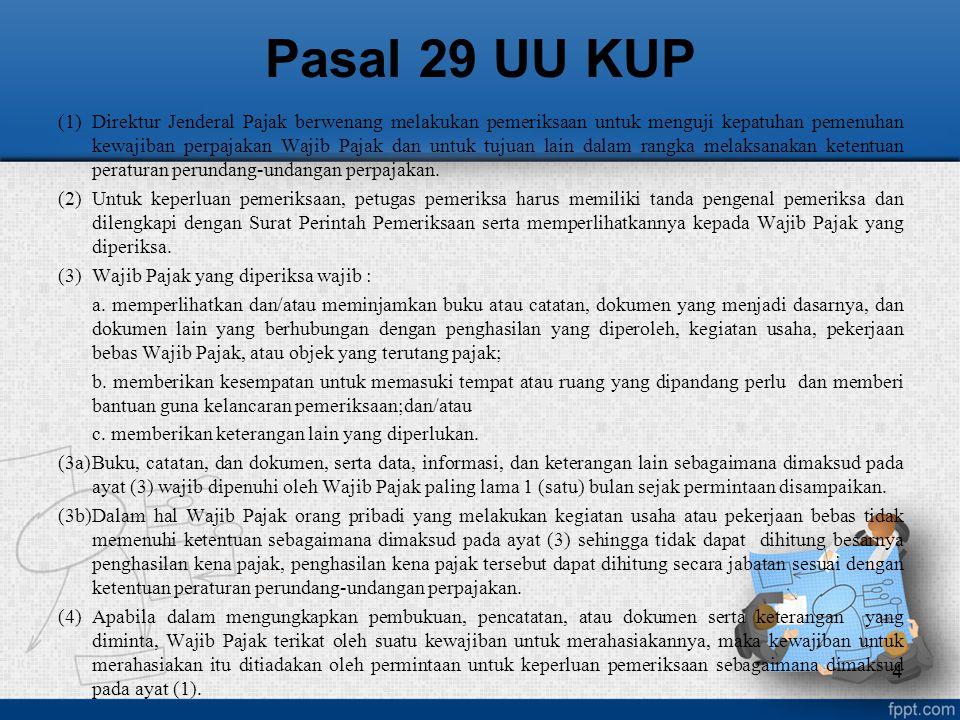 Pemeriksaan Menguji kepatuhan Harus dilakukan Dapat dilakukan WP mengajukan permohonan pengembalian kelebihan pembayaran pajak (Pasal 17B UU KUP) SPT LB, termasuk yang telah diberikan pengembalian pendahuluan kelebihan pajak SPT Rugi Tidak menyampaikan atau menyampaikan SPT melampaui jangka waktu dalam Surat Teguran penggabungan, peleburan, pemekaran, likuidasi, pembubaran, atau akan meninggalkan Indonesia untuk selama-lamanya; SPT memenuhi kriteria seleksi berdasarkan hasil analisis risiko (risk based selection), ada indikasi adanya kewajiban perpajakan WP yang tidak dipenuhi