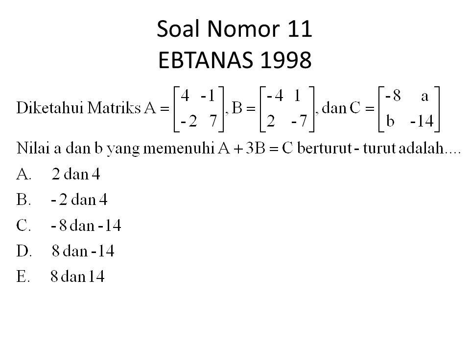 Soal Nomor 11 EBTANAS 1998