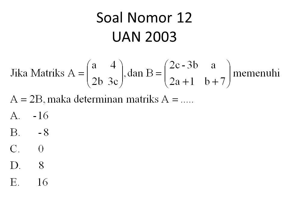 Soal Nomor 12 UAN 2003