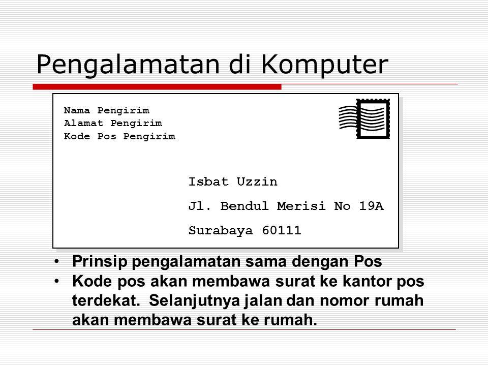 Pengalamatan di Komputer Isbat Uzzin Jl. Bendul Merisi No 19A Surabaya 60111 Nama Pengirim Alamat Pengirim Kode Pos Pengirim Prinsip pengalamatan sama