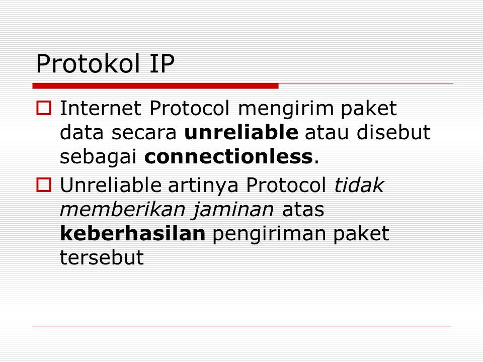Protokol IP  Internet Protocol mengirim paket data secara unreliable atau disebut sebagai connectionless.  Unreliable artinya Protocol tidak memberi