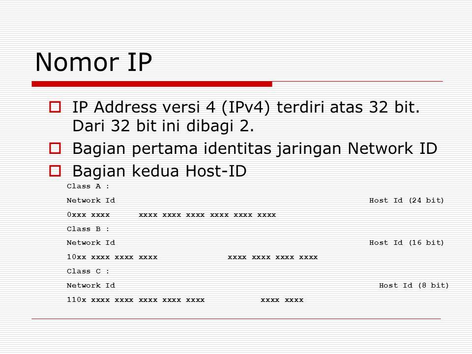 Nomor IP  IP Address versi 4 (IPv4) terdiri atas 32 bit. Dari 32 bit ini dibagi 2.  Bagian pertama identitas jaringan Network ID  Bagian kedua Host