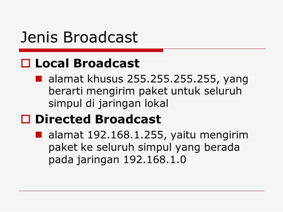 Jenis Broadcast  Local Broadcast alamat khusus 255.255.255.255, yang berarti mengirim paket untuk seluruh simpul di jaringan lokal  Directed Broadca