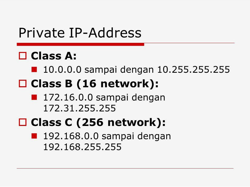 Private IP-Address  Class A: 10.0.0.0 sampai dengan 10.255.255.255  Class B (16 network): 172.16.0.0 sampai dengan 172.31.255.255  Class C (256 net