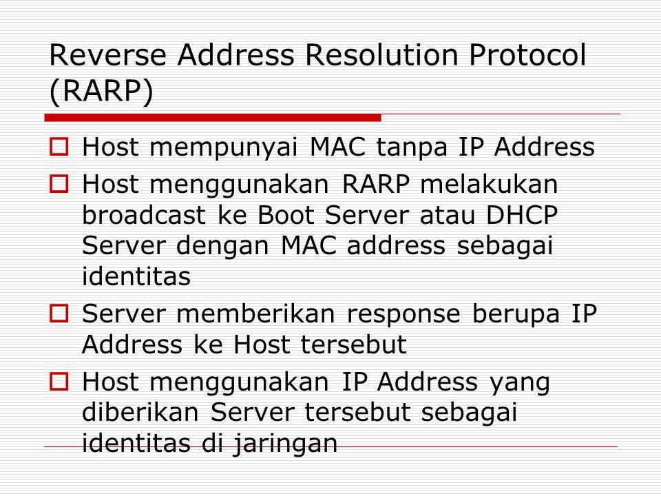 Reverse Address Resolution Protocol (RARP)  Host mempunyai MAC tanpa IP Address  Host menggunakan RARP melakukan broadcast ke Boot Server atau DHCP