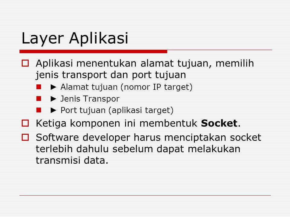Layer Aplikasi  Aplikasi menentukan alamat tujuan, memilih jenis transport dan port tujuan ► Alamat tujuan (nomor IP target) ► Jenis Transpor ► Port