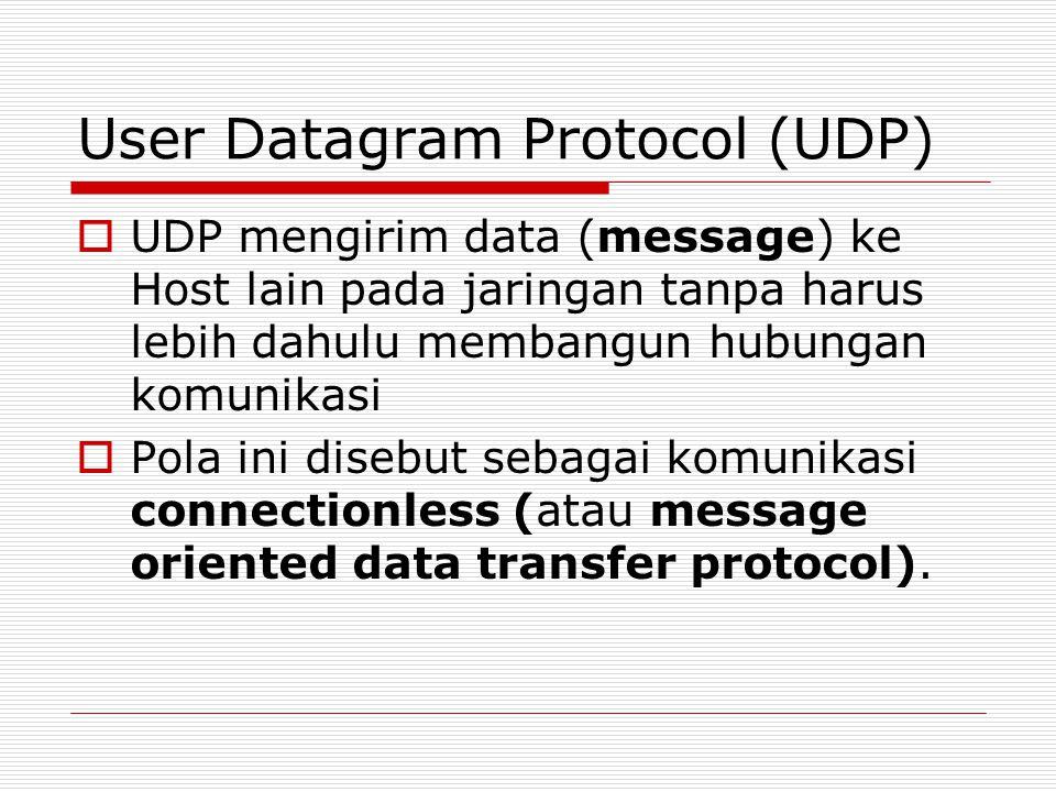 User Datagram Protocol (UDP)  UDP mengirim data (message) ke Host lain pada jaringan tanpa harus lebih dahulu membangun hubungan komunikasi  Pola in