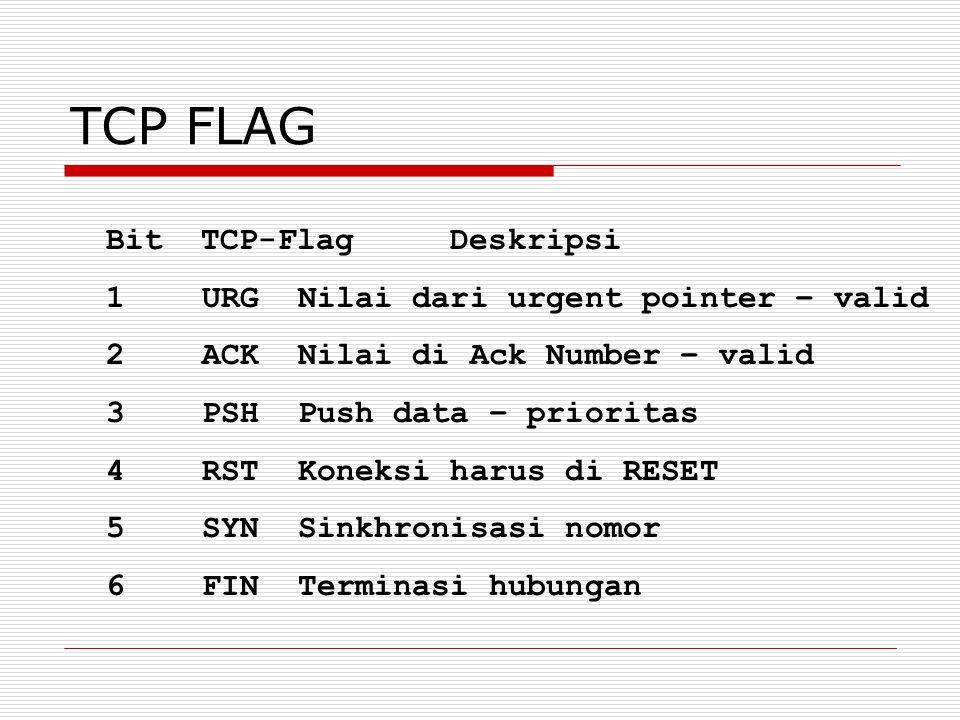 TCP FLAG Bit TCP-Flag Deskripsi 1URGNilai dari urgent pointer – valid 2ACKNilai di Ack Number – valid 3PSHPush data – prioritas 4RSTKoneksi harus di R