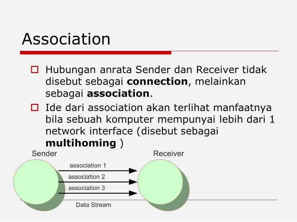 Association  Hubungan anrata Sender dan Receiver tidak disebut sebagai connection, melainkan sebagai association.  Ide dari association akan terliha