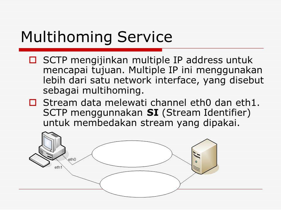 Multihoming Service  SCTP mengijinkan multiple IP address untuk mencapai tujuan. Multiple IP ini menggunakan lebih dari satu network interface, yang