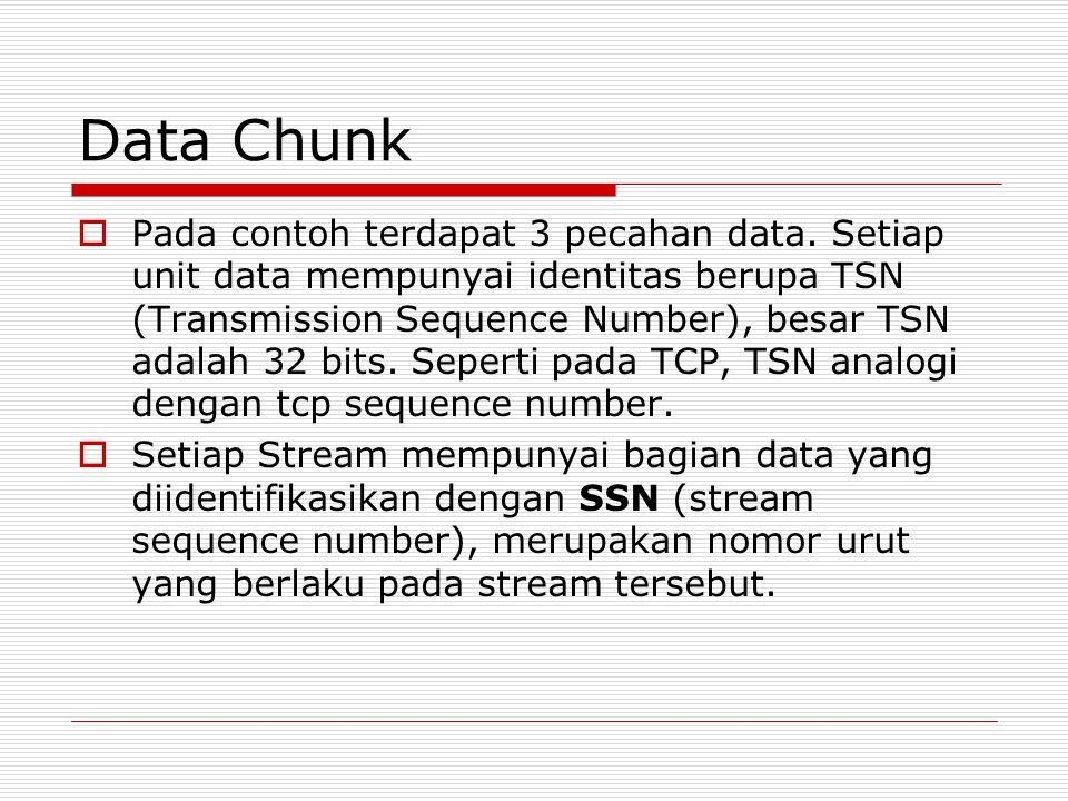  Pada contoh terdapat 3 pecahan data. Setiap unit data mempunyai identitas berupa TSN (Transmission Sequence Number), besar TSN adalah 32 bits. Seper