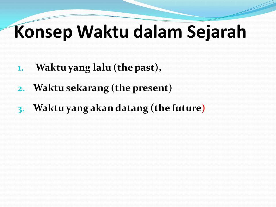 Konsep Waktu dalam Sejarah 1. Waktu yang lalu (the past), 2. Waktu sekarang (the present) 3. Waktu yang akan datang (the future)